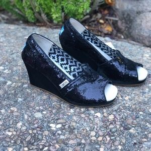 Toms Black Sparkle Sequins Peep Toe Wedge